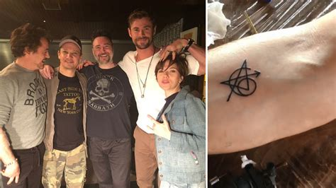 the original cast of the avengers got matching tattoos