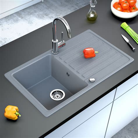 grey kitchen sink bergstroem granite kitchen built in sink reversible 765x460 grey ebay