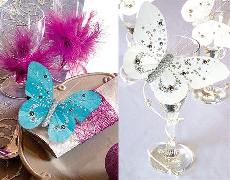 lot de 2 papillons sur pince perles et paillettes d 233 coration de table bapteme