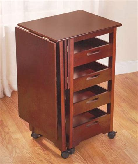 rolling craft table with storage versatile rolling space saver unit fold away desk