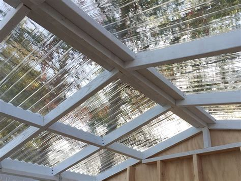 Plastic Roofing For Sheds by Tuftex Polycarb Clear Panels On A Greenhouse Shed Tuftex