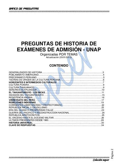 preguntas de historia universal admision banco de preguntas de historia unap actualizado 2013