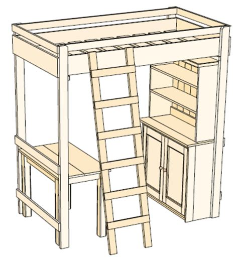 loft bed with desk plans crafts hobbies woodwork plan for pine bunk bed desk