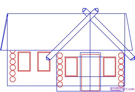 easy houses to draw how to draw a log cabin house step by step buildings