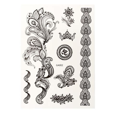 black and white henna tattoo designs 1pcs diy design black white henna ink lace temporary flash