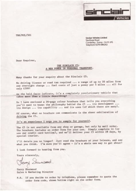Customer Enquiry Letter Sinclair C5 Resources And Documentation