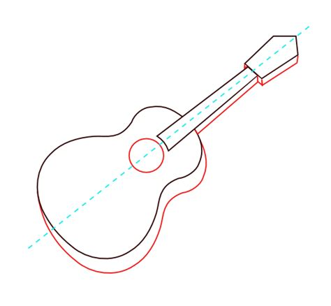 Acoustic Guitar Outline Drawing by Classical Acoustic Guitar Drawing Sewing