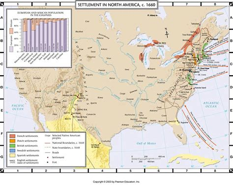pattern of french settlement in north america atlas map settlement in north america c 1660