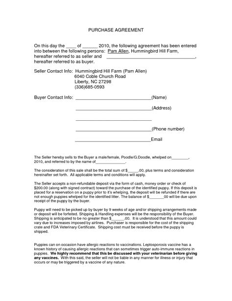 purchase contract template auto purchase agreement form doc by nyy13910 purchase