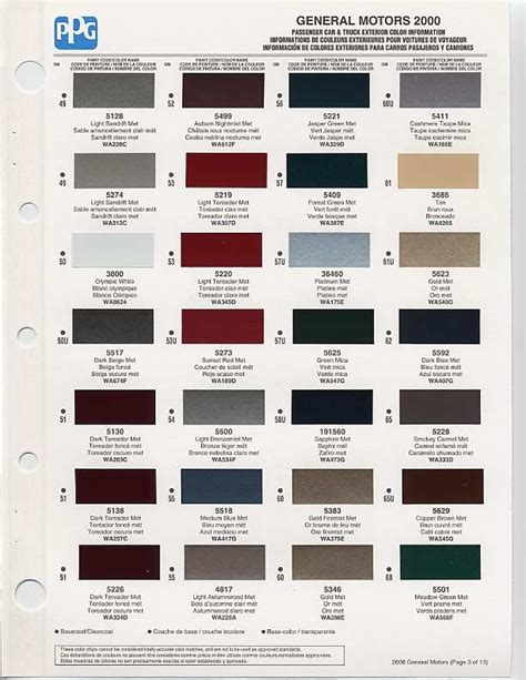 gm auto color chips color chip selection auto paint colors codes autos