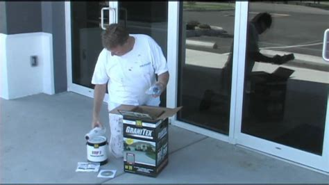 Applying concrete floor coating Granitex from Lowe's   YouTube