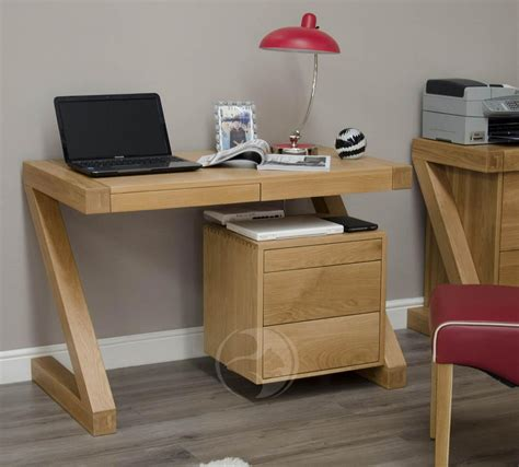 Z Shape Solid Oak Small Computer Desk Oak Furniture Uk Small Desk Uk
