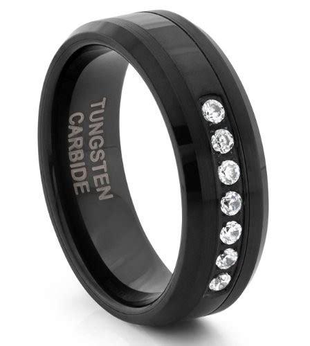 mens wedding bands tungsten carbide black diamonds