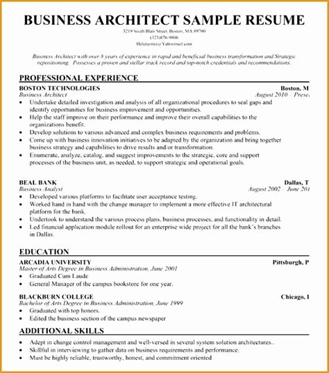 7 business architect resume sle free sles exles format resume curruculum vitae