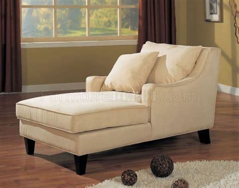 Cream Microfiber Classic Chaise Lounge W Cappuccino Finish Chaise Lounge Bedroom Furniture