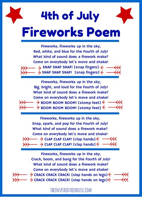 theme poem maker 4th of july poem and movement activity for kids firework