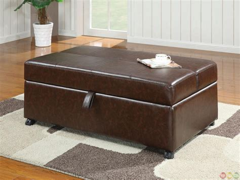 pull out sleeper ottoman brown upholstered casual bench ottoman w pull out sleeper