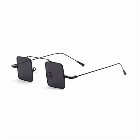 Square Glasses small square wire unisex sunglasses metal black frame grey