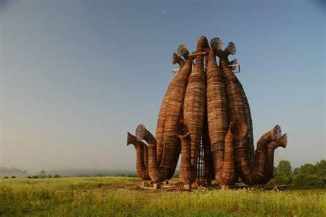designboom russia towering tubular installation in rural russia by nikolay