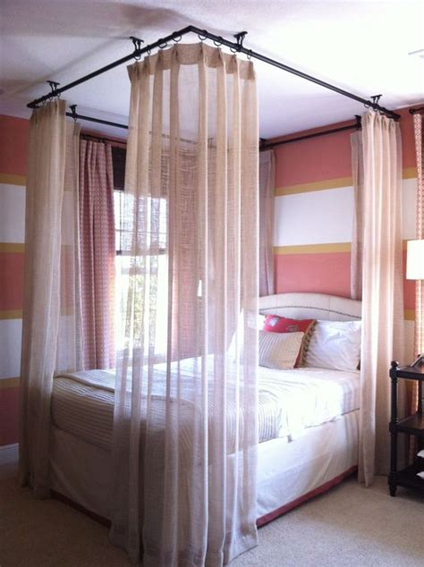 beds with curtains around them ceiling hung curtains around bed bedrooms pinterest