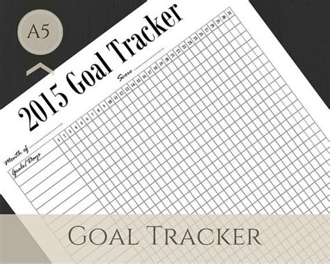 free printable goal planner 2015 monthly goal tracker filofax a5 printable by