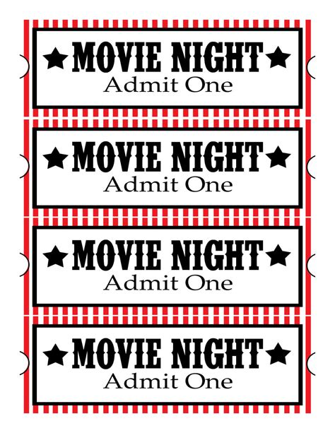 Printable Movie Night Tickets | sweet daisy designs free printables home movie theatre night