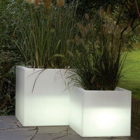 cubotti indoor outdoor lighted planter outdoor pots and