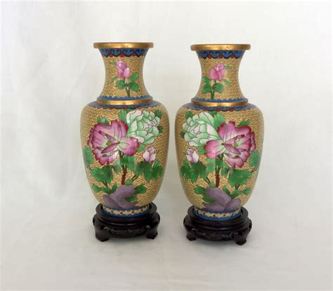 Vintage Cloisonne Vase by Vintage Pair Peony Cloisonne Vases Omero Home