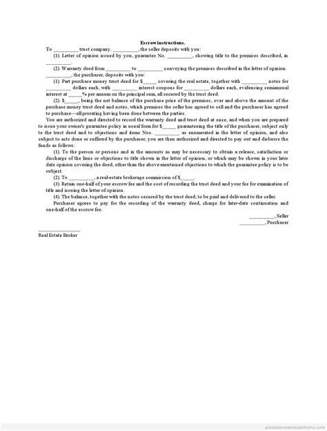 sample printable escrow instructions form real estate