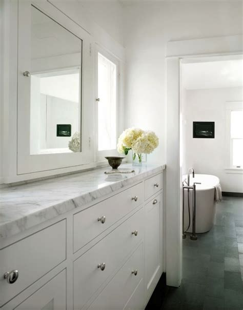 bathroom wall dressing and cupboards white marble staggered floor design ideas