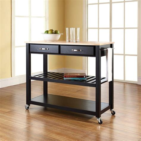 black kitchen island cart crosley black kitchen cart with natural wood top kf30051bk the home depot