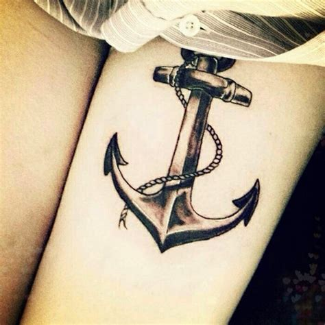 anchor thigh tattoo beautiful anchor with rope on leg