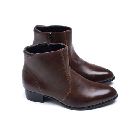 mens low boots mens toe side zip low heel ankle boots
