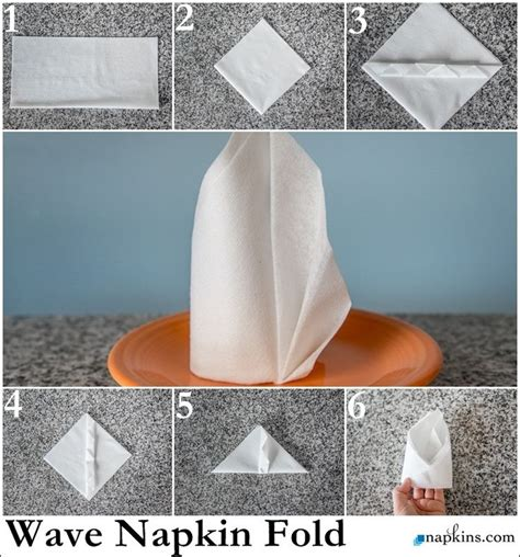 Table Napkin Origami - wave napkin fold how to fold a napkin