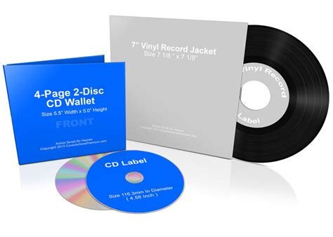 lp cover template 7 inch vinyl record and cd wallet bundle mock up cover