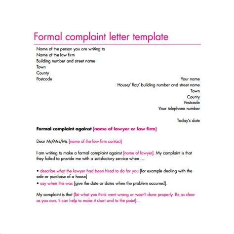 Formal Letter Template Complaint Complaint Letter 16 Free Documents In Word Pdf