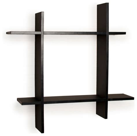 asymmetric laminate square floating wall shelf black