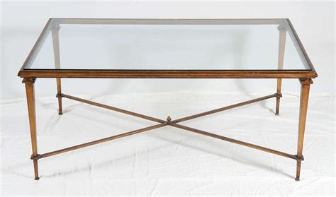 neoclassical style bronze metal coffee table with glass