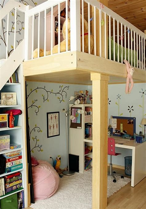 loft bed with study desk and play area underneath