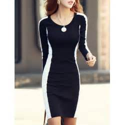 slimming color block dress wholesale slimming scoop neck color block sleeves