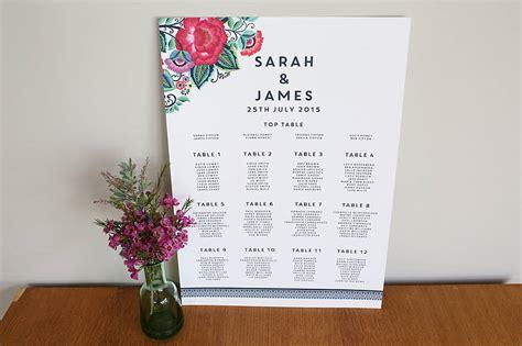 wedding table plan design ideas floral folk wedding seating plan by says i do