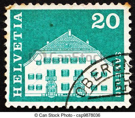 haus der briefmarke stock bild schweiz zirka 1968 a briefmarke