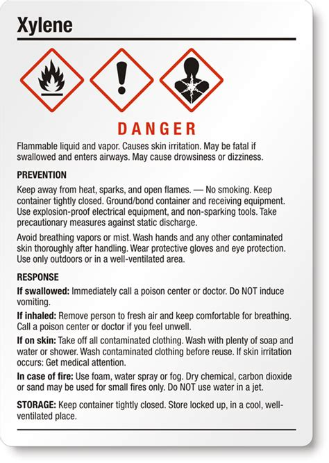 printable ghs labels xylene danger ghs chemical label medium sku ghs 025 b