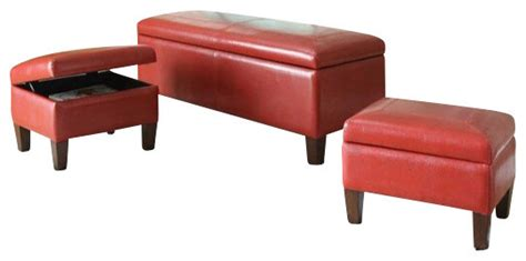 red upholstered bench 3 piece set ibrahim red leather like upholstered tufted