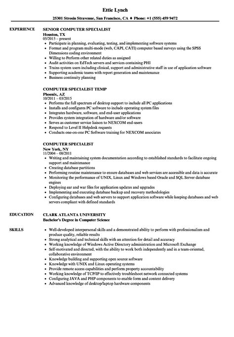 Computer Specialist Resume by Computer Specialist Resume Sles Velvet
