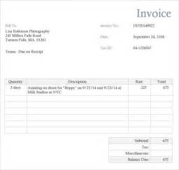 Photography Receipt Template Photography Invoice Template 7 Free Samples Examples