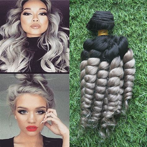 Hair Extension Clip Curly Ombre Silver Gray Abu Hairclip Keriting Curl 2015 new fashions silver grey ombre human hair extensions 1pcs lot 1b grey curly two tone