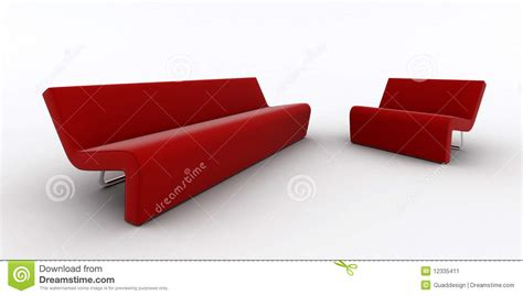 red modern sofa modern red sofa and armchair stock illustration