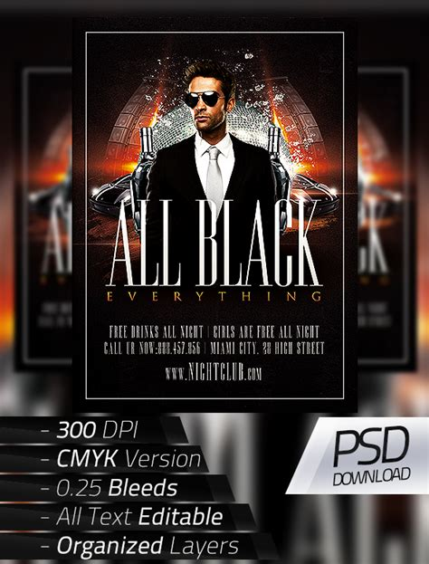 all black party flyer on behance