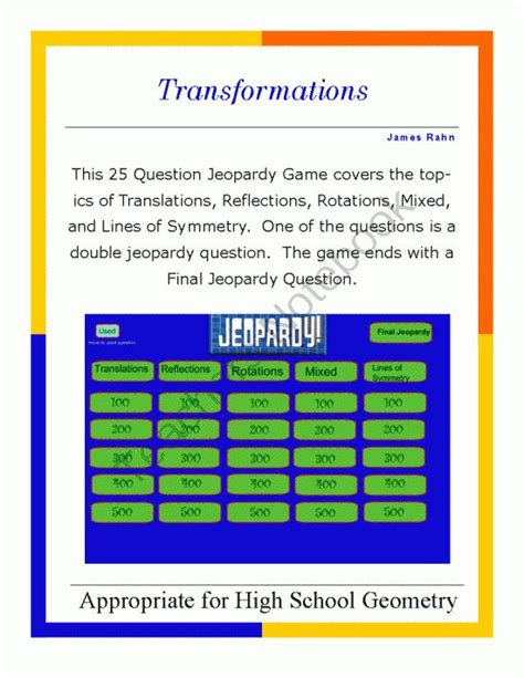 Geometry Smartboard Jeopardy Game Transformations From Jeopardy For Smartboard